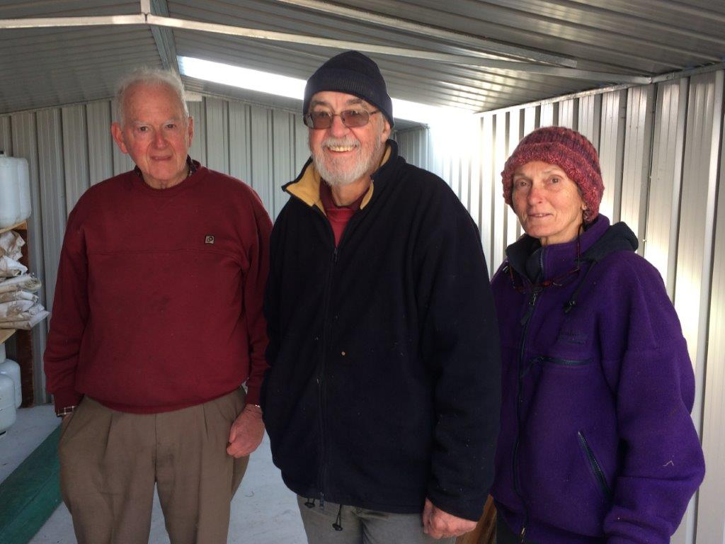 Rogaine Tasmania stalwarts Ross Kelly, Rod Bilson and Adele Winslow at a frosty RT shed clean out in July 2017